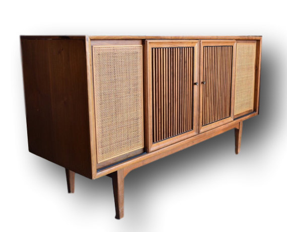 Mid-Century Modern Repurposed Motorola : Drexel Stereo and TV Console