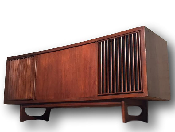 You're looking at a stunningly beautiful, RCA Mid-Centruy Modern Stereo Console with Record Player Modified with Bluetooth ALL NEW upgraded Electronics. Amazing modern tube amp, bluetooth /turntable stereo